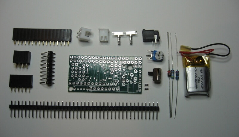 ProMini Breakout PCB Accessories + battery
